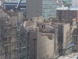 Work continues on the south facade of the Mackintosh Building. Photo: courtesy Glasgow School of Art