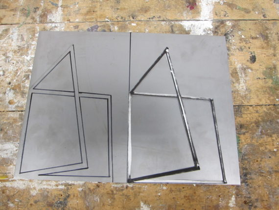 Metal Frame - Prep for use of use of plasma cutter. 3D Workshop ARU Credit - Sally Stenton