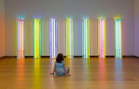 Liz West, Our Spectral Vision, Installation (dichroic glass, LEDs, acrylic) 700cm (L) 220cm x (H) x 40cm (W) 2016 Our Spectral Vision was originally commissioned by Natural History Museum, London as part of their exhibition Colour and Vision: Through the Eyes of Nature from 15 July until 6 November 2016. Design realisation by Nissen Richards Studio Limited. Photographs © Hannah Devereux / Jamie Woodley