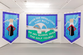 Chris Alton, After the Revolution They Built an Art School Over the Golf Course, textile banners, wooden dowel, 23 x115cm, 230x250cm, 230x115cm, 2017. Installation views of 'You're Surrounded by Me' at TURF Projects, London. Photo: Tim Bowditch