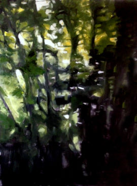 Green 3 Oil painting landscape forest Diana Hand
