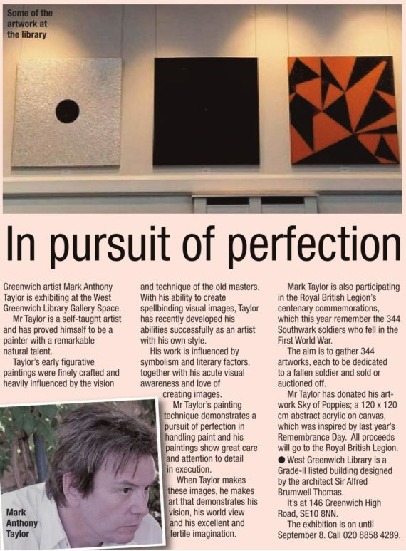 Newspaper coverage of my art exhibition.