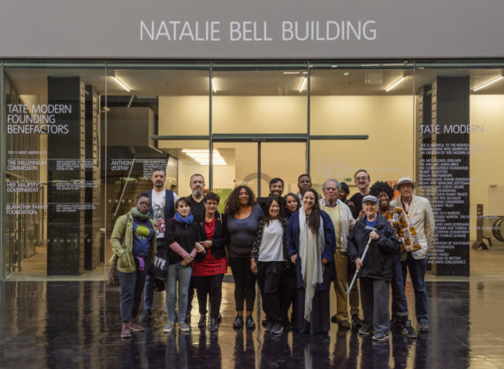 Tania Bruguera's Turbine Hall commission at Tate Modern. The Natalie Bell Building with Bruguera and members of the Tate Neighbours group. Photo: Andrew Dunkley © Tate