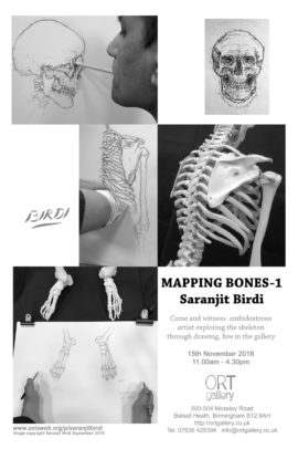 'Mapping Bones 1'- Drawing performance and exhibition by Saranjit Birdi