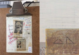 (left) David Garner 120/80  (detail)   2017 Three volumes of Marx Capital are placed on a vintage medical trolley. They have been examined by a sphygmomanometer. 120/80 is an indicator of good health. Photographer credit David Garner  (right) Tom Pitt  Sea wall Aberthaw (detail) 2018  Photographer credit Tom Pitt