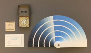 Pocket Forecaster, Negretti & Zambra, c.1915; Julie Johnstone, sky viewing permit, 2017; Julie Johnstone, cyanometer, after Horace-Bénédict de Saussure, 1-100%, 2017. Photo: Julie Johnstone