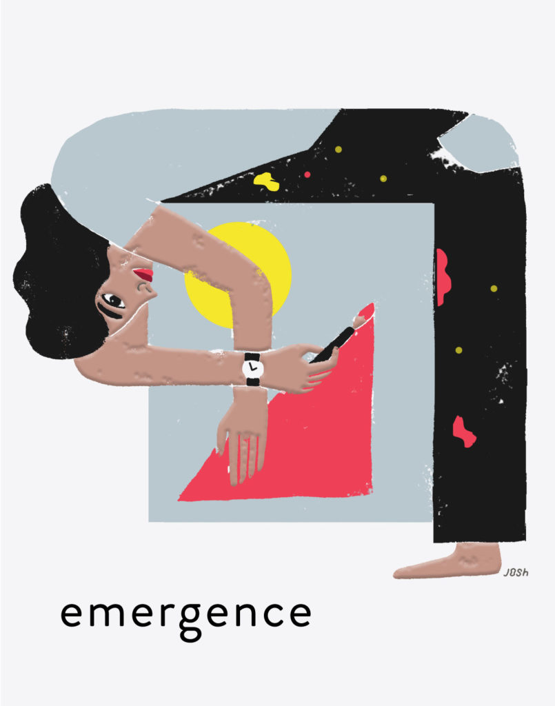 Image of woman painting with word 'emergence' below.
