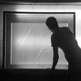 Dan Mather preparing Interference, screenprint on Somerset paper, edition of 10, 2017