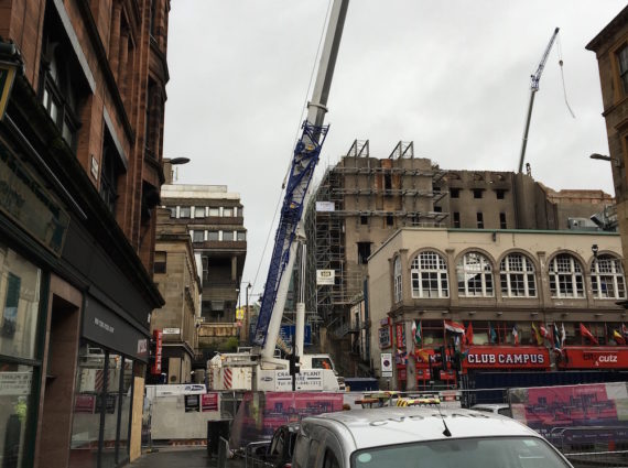 Work continues on Glasgow School of Art's Mackintosh building, taken October 2018. Photo: Chris Sharratt