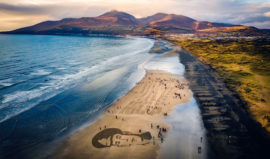 Sand-portrait of John McCance on Murlough Beach in Northern Ireland c. Kevin Scott/Belfast Telegraph