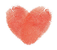 Heart image made from two fingerprints