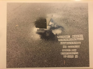 One of a series of 7 Lambeth puddle collage poems made collaboratively by Sophie Herxheimer and Chris McCabe for the book