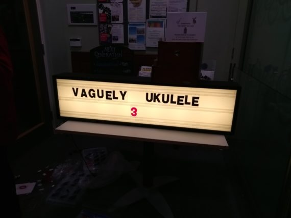 Sign saying Vaguely Ukelele