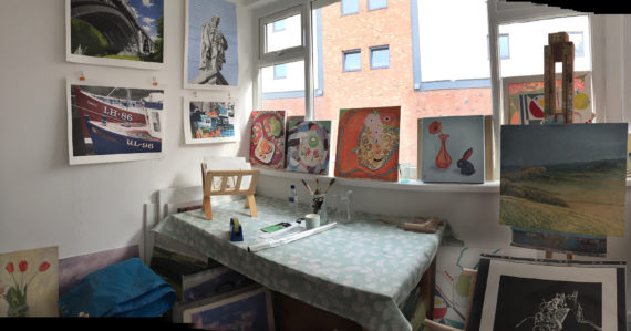 My half of the studio almost ready for our 1st opening the next day.