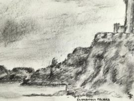 Lynne Forrester: Dunvegan Castle ramparts and shoreline from the grounds