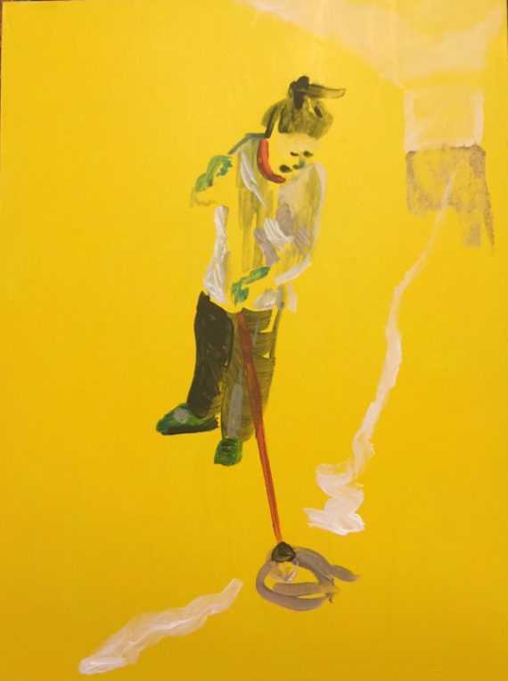 painting by Katya Robin - a yellow ground all over with a figure of a woman mopping the floor rendered is fluid brush strokes.