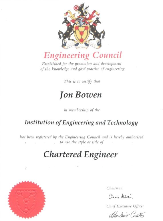 Certificate of Chartered Engineer