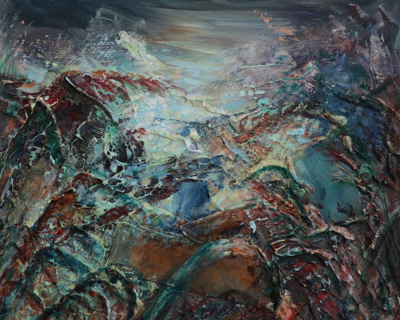 Jessie Davies, Estuary 07, mixed media on board, 28 x 35cm