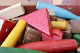 Colourful wooden toy blocks