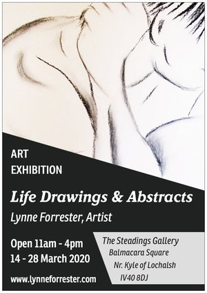 Lynne Forrester, Artist: Life Drawings & Abstracts Exhibition (14-28 March, The Steadings Gallery, Balmacara Square, IV40 8DJ)