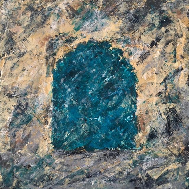 Lynne Forrester, Artist: door#11 (mixed media on canvas board)