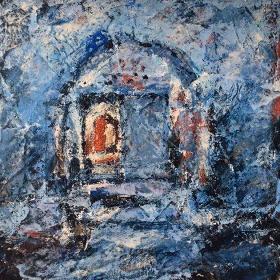 Lynne Forrester, Artist: door#12 (mixed media on canvas board)