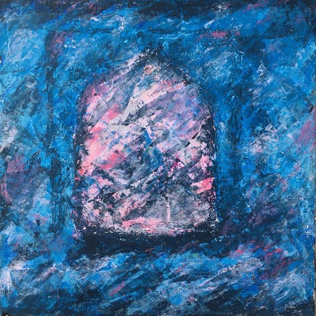 Lynne Forrester, Artist: door#13 (mixed media on canvas board)