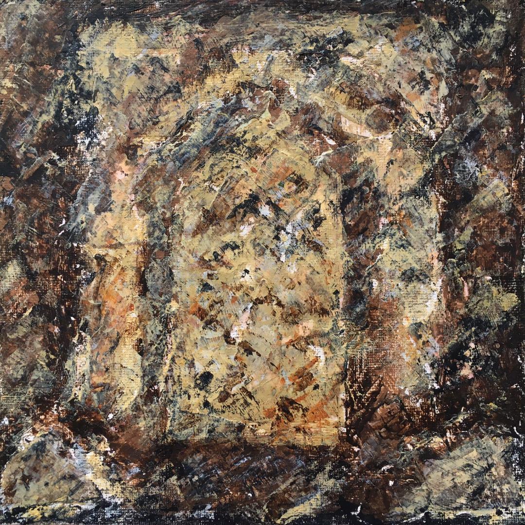 Lynne Forrester, Artist: door#14 (mixed media on canvas board)