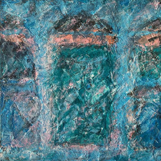 Lynne Forrester, Artist: door#15 (mixed media on canvas board)