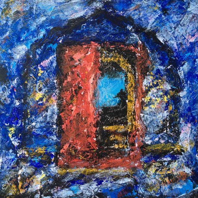 Lynne Forrester, Artist: door#16 (mixed media on canvas board, 20x20cm)