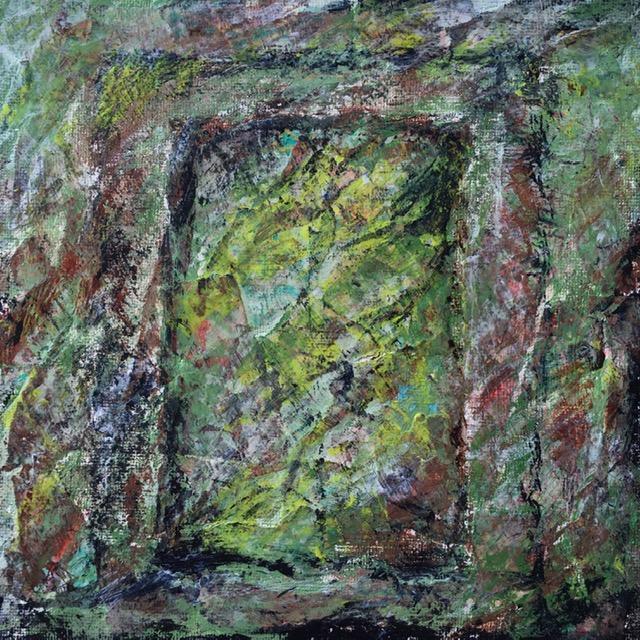 Lynne Forrester, Artist: door#17 (mixed media on canvas board)