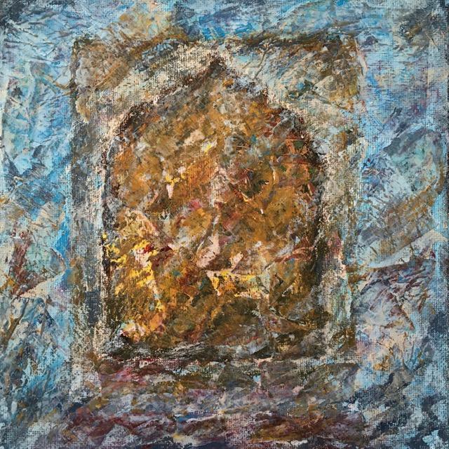 Lynne Forrester. Artist: door#18 (mixed media on canvas board, 20x20cm)