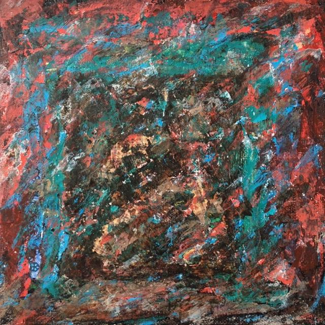 Lynne Forrester, Artist: door#24 (mixed media on canvas board)