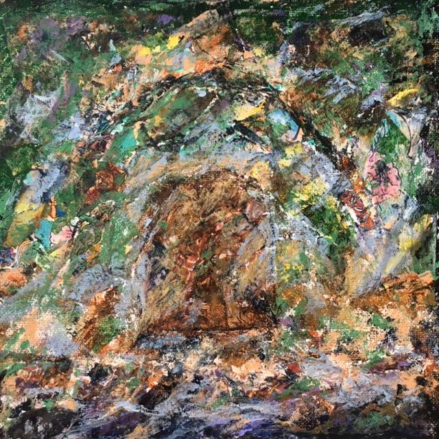 Lynne Forrester, Artist: door#27 (mixed media on canvas board)