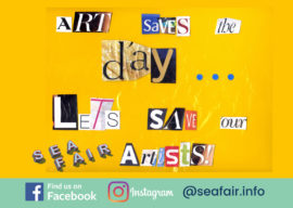 poster collage saying Arts saves the day let's save our seafair artists