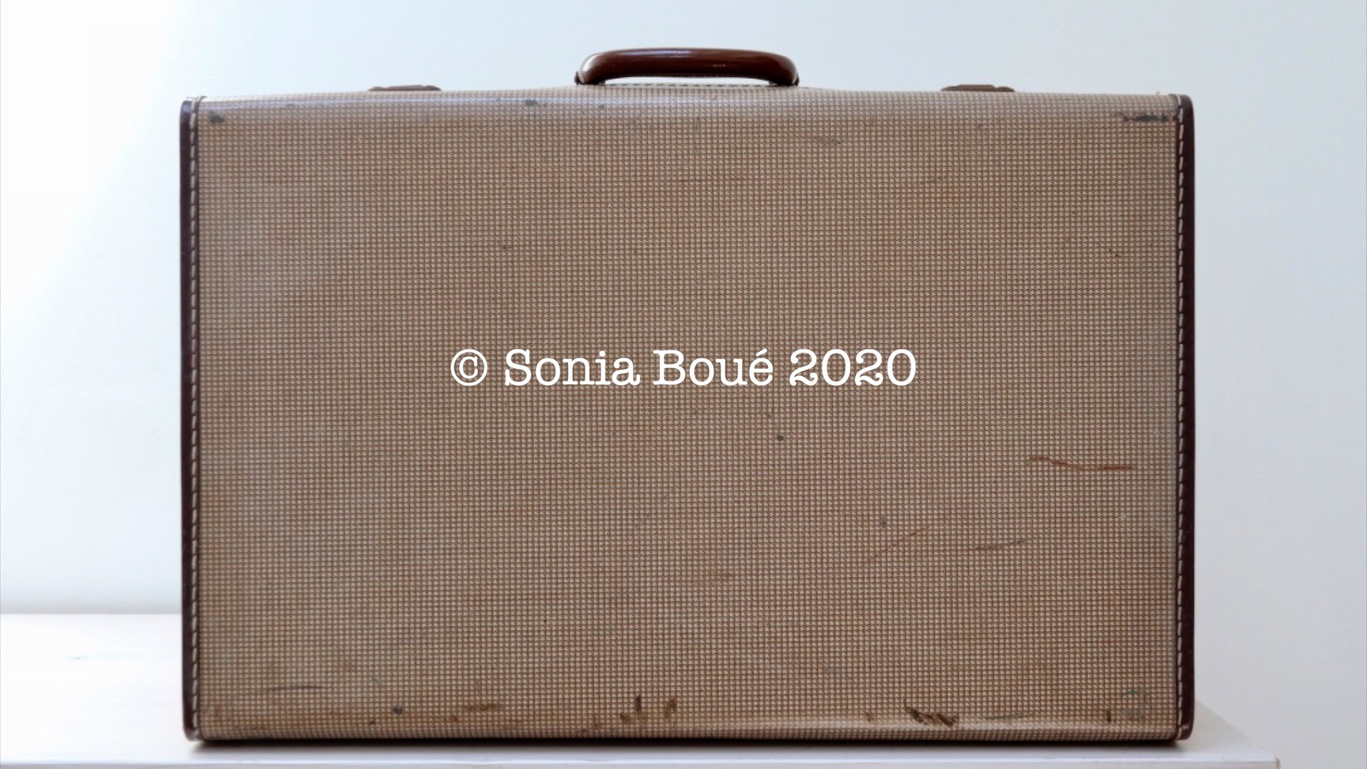 Light coloured vintage suitcase with typed lettering on it reading © Sonia Boué 2020
