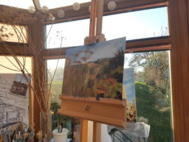 Work in Progress painting on easel