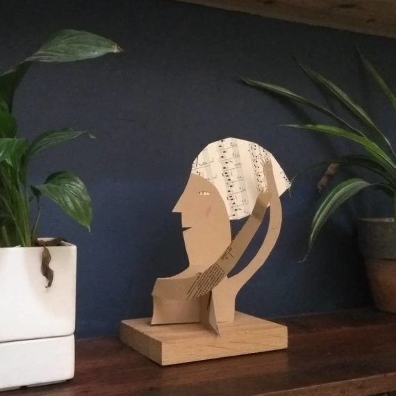 picture of sculpture by Lizzie Donegan on bookshelf