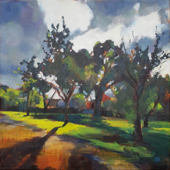 Sundown in Isolation, 2020, oil on canvas (50.8 x 50.8cm) | Julia Brown