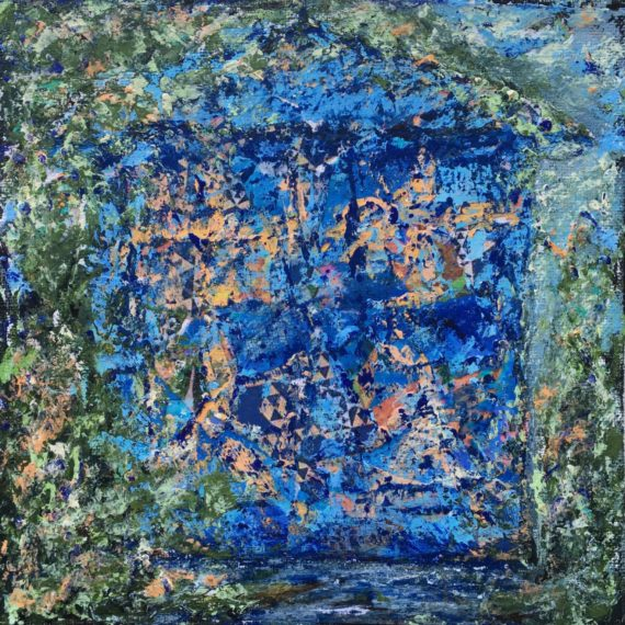 "Lynne Forrester, Artist: Bedraggled Door (mixed media painting on canvas board, 20x20cm/8""x8"")"