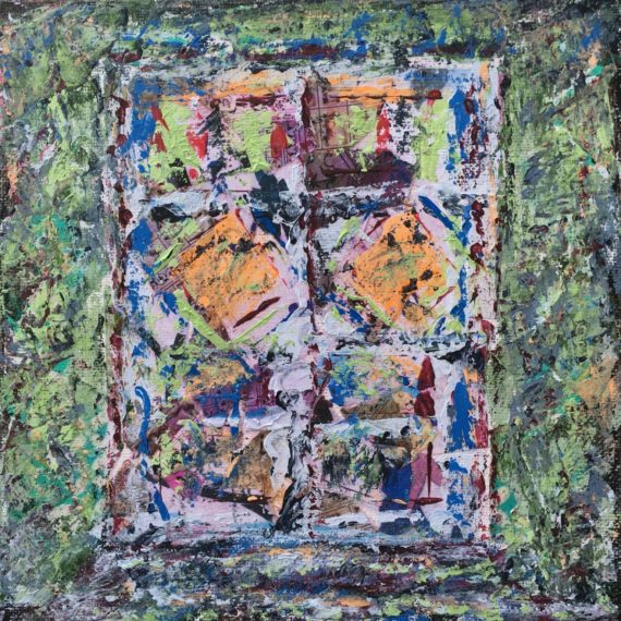 """Lynne Forrester, Artist: Ghost Door (mixed media painting on canvas board, 20x20cm/8""""x8"""")"""