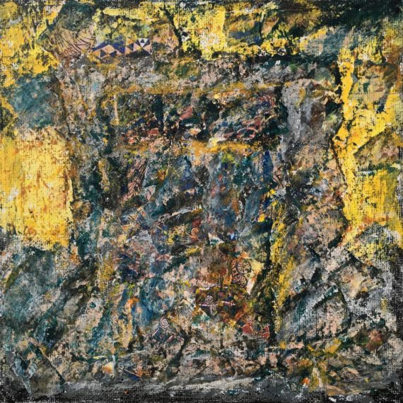 "Lynne Forrester, Artist: Hidden Jewels Door (mixed media painting on canvas board, 20x20cm/8""x8"")"