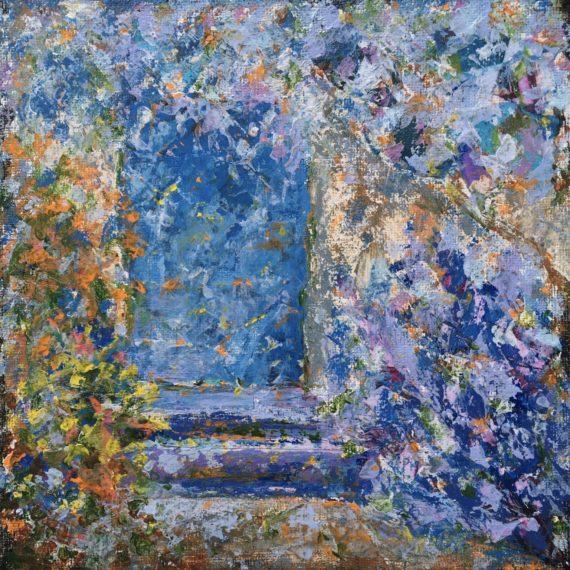 "Lynne Forrester, Artist: Peeking Door (mixed media painting on canvas board, 20x20cm/8""x8"")"