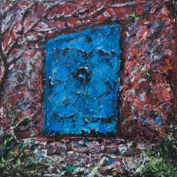 """Lynne Forrester, Artist: Quizzical Door (mixed media painting on canvas board, 20x20cm/8""""x8"""")"""