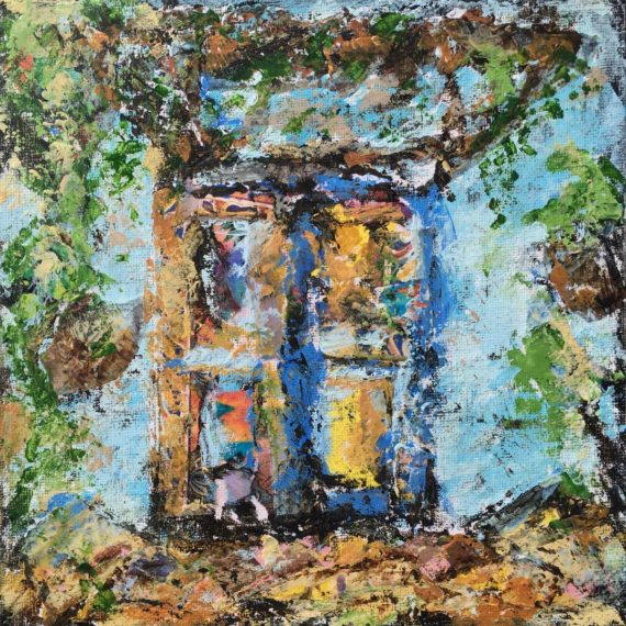 Lynne Forrester, Artist: Raggedy Door (mixed media on canvas board)