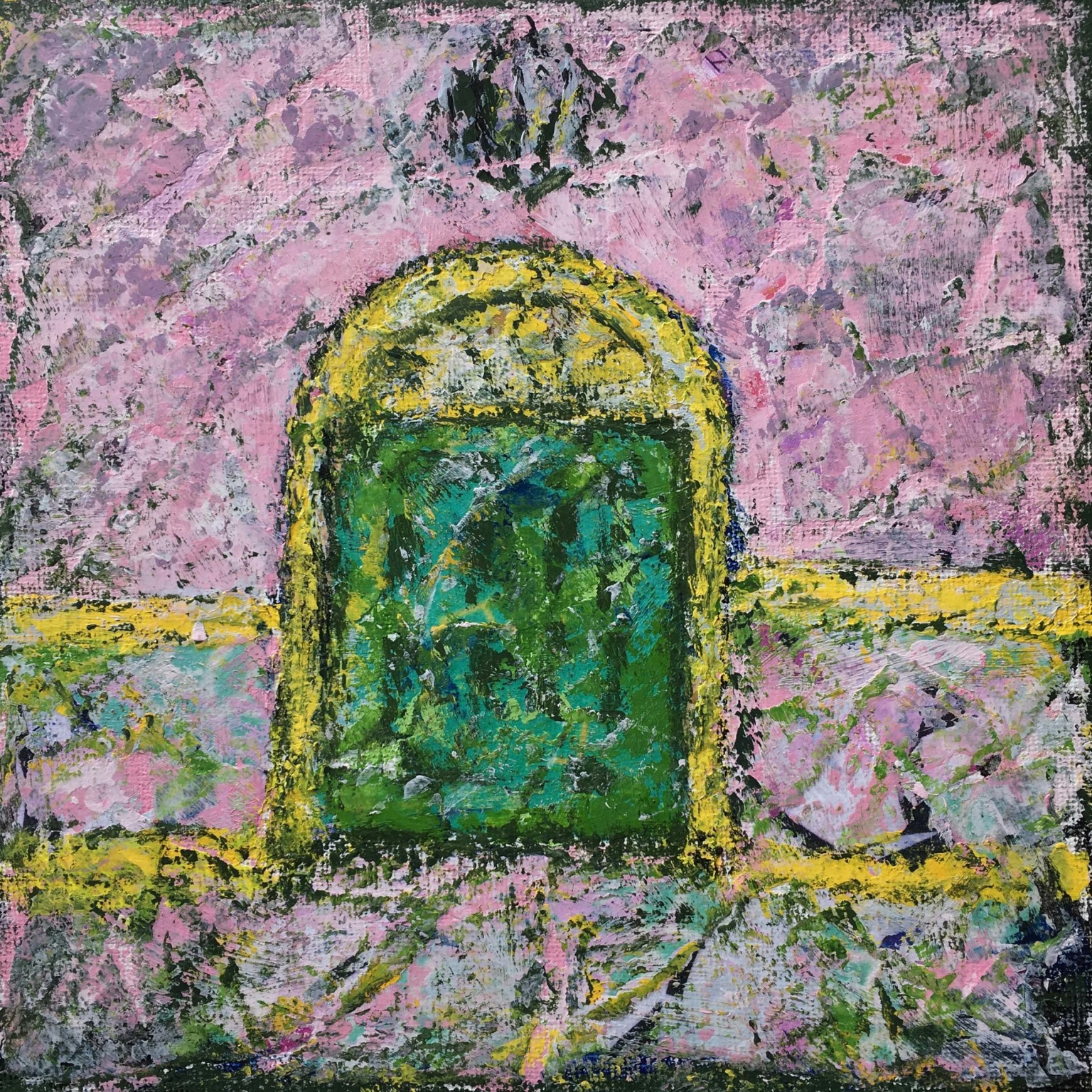 """Lynne Forrester, Artist: Smile Door (mixed media painting on canvas board, 20x20cm/8""""x8"""")"""