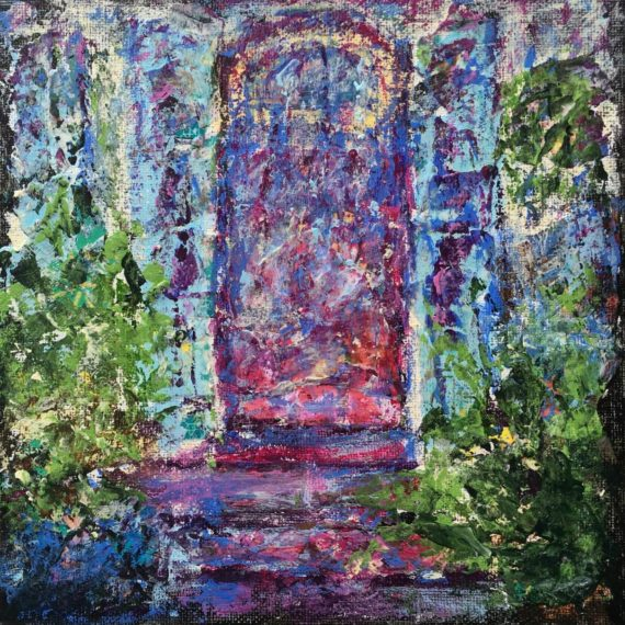 """Lynne Forrester, Artist: Soaring Door (mixed media painting on canvas board, 20x20cm/8""""x8"""")"""