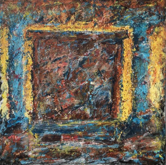 """Lynne Forrester, Artist: Sunshine Glow Door (mixed media painting on canvas board, 20x20cm, 8""""x8"""")"""