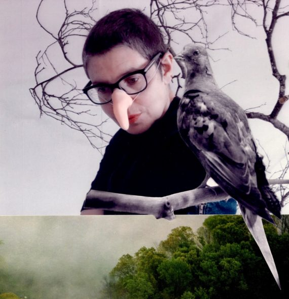 Short haired white woman wearing black framed glasses and a false nose. Collage with passenger pigeon