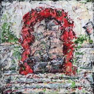 """Lynne Forrester, Artist: Frothy Red Surround Door (mixed media painting on canvas board, 20x20cm/8""""x8"""")"""